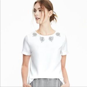 Banana Republic white Jewel Embellished tee